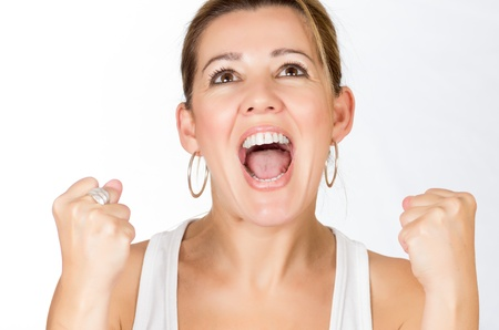 Real women with thumb raised making the sign of victory Stock Photo
