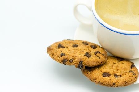 Macrofotografie koekjes koekjes en een kopje koffie