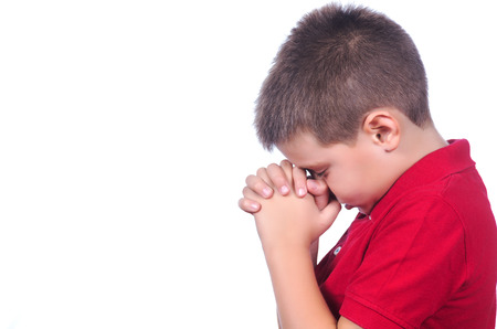child praying: praying child with red sweater on a white background