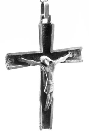 macro photography: Macro photography of the Christian religion symbol on white background