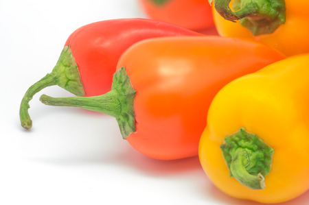 photography colorful peppers on white background Stock Photo