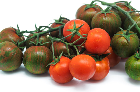 Product photography is newly harvested tomatoes on white  photo