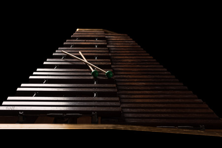 Xylophone with two mallets. Dark background. Close-up Archivio Fotografico