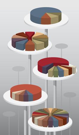 attribute: Cirkeldiagrammen van 10 en 20 afneembare en onafhankelijke delen functies Document kleurmodus CMYK Verlopen en transparantie ingesteld op stalen met wereldwijde attribuut vermenigvuldigen voor eenvoudige editie 2 lagen