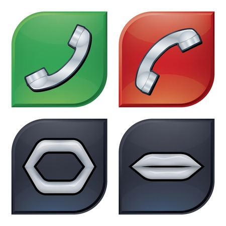 Call icons. Bitmap JPEG 300 DPI. Vector AI-EPS 10. Contains gradient mesh, effects and transparency. Vector