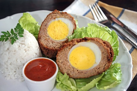 Scotch eggs - meatballs with hard-boiled eggs Stock Photo