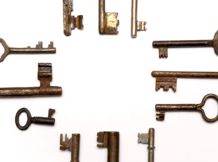 some rusty keys framing a blank space Stock Photo