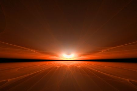 a very surreal render of an orange sunset Stock Photo