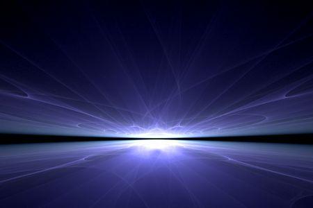 a surreal blue light reflection over black