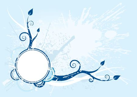 blue grunge background with spirals and leaves