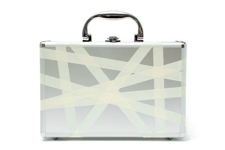 briefcase in masking tape