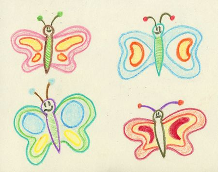 butterflies drawn with crayon over textured paper