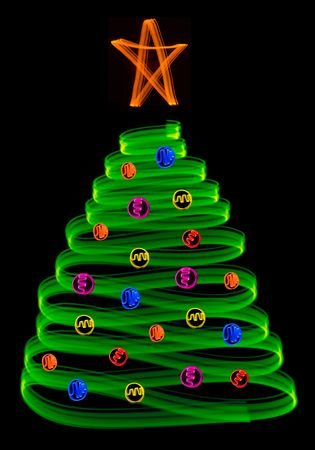 ornamentals: a christmas tree and ornamentals made with light blurs Stock Photo
