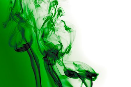 green smoke waves over white and green background