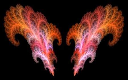 hightech: a couple of highly detailed fractal feathers Stock Photo