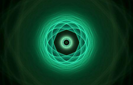 hightech: atom fractal in green tones over black