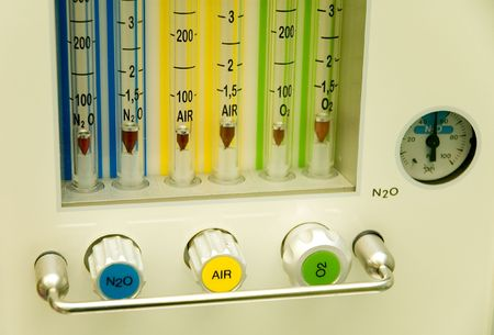 three medical gases on a surgical room machine Stock Photo