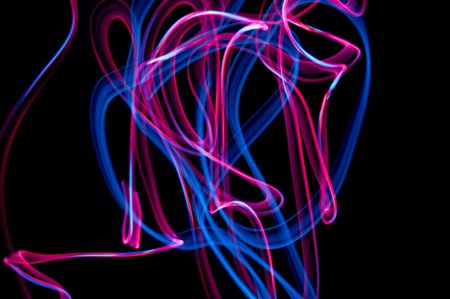 colrful: some colrful LED lights in motion resembling ribbons Stock Photo
