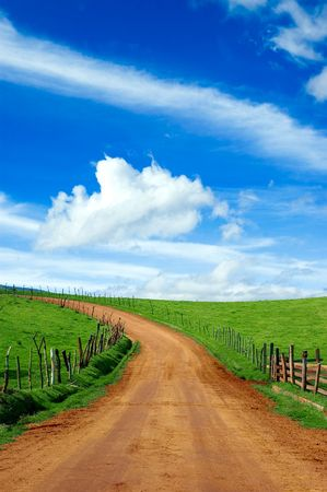 dirtroad: dirt road and meadow, please check out my portfolio for more! Stock Photo