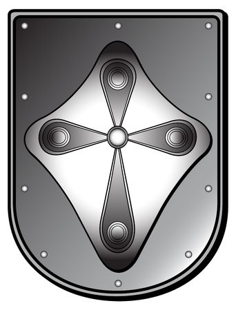 silver plated: silver plated medieval shield, jpg from a vector image, please check out my portfolio for more!