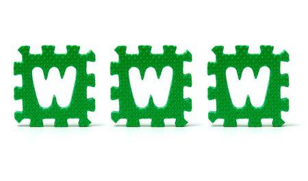 sponge letters spelling www over a white background