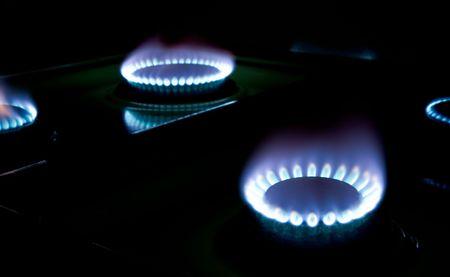 macro shots of some stove burners in the dark Stock Photo