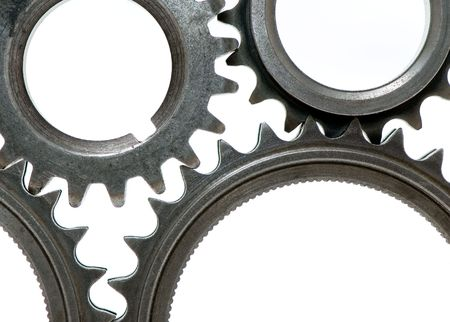 gears representing teamwork isolated over white background Stock Photo