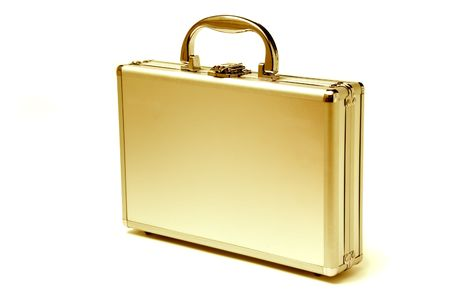 beautiful golden briefcase representing  and business Stock Photo