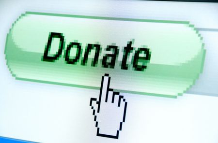donate button screenshot with a white cursor Stock Photo