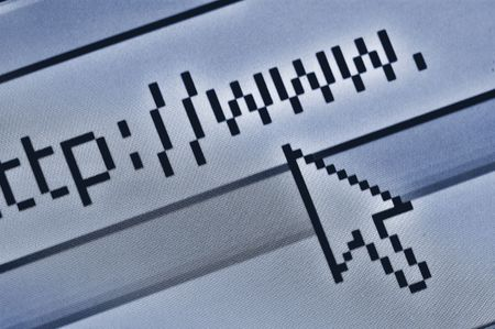http  www: cursor pointing at browser bar with http www text Stock Photo