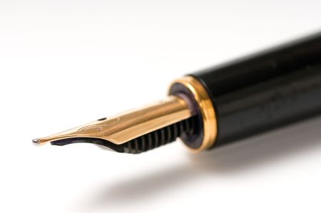 macro image of fountain pen isolated over white
