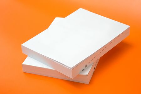 two blank books over an orange background Stock Photo - 3680943