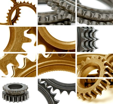 composition using many golden and gray gears Stock Photo