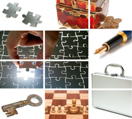 business theme composition out of many images Stock Photo