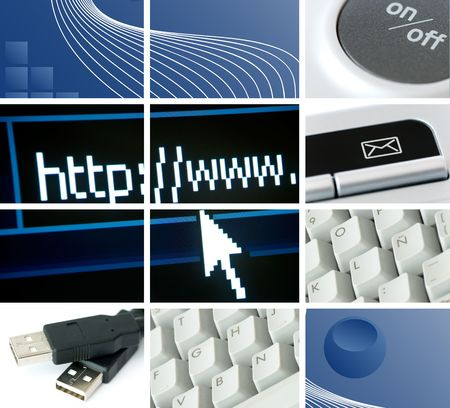 communications and technology composition with many images