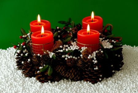 christmas candles arrangement in colorful festive themes