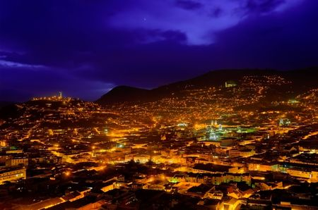 beautiful hdr image of colonial quito in ecuador