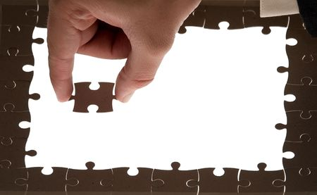 puzzle for blank spaces and puzzle piece Stock Photo
