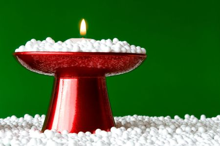 christmas candle arrangement with a beautiful candleholder