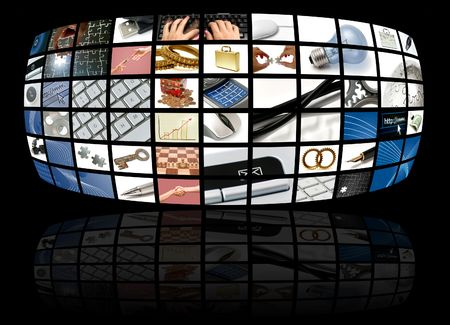business and technology composition with many images photo