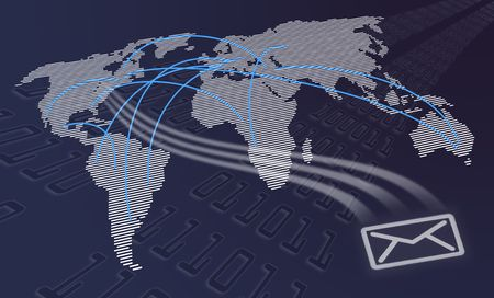 global communications world map with mail symbol