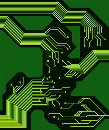 beautiful circuit board in green and yellow tones