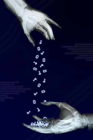 swapping: couple of xray hands swapping some binary numbers Stock Photo