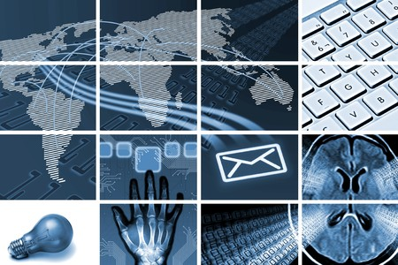communications and technology composition out of many images Stock Photo