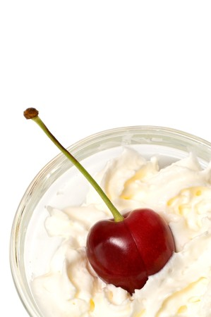 beautiful cherry and cream isolated over a white background Stock Photo - 4035715