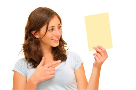 Beautiful young woman holding a blank card