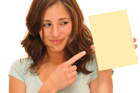 Beautiful young woman holding a blank card Stock Photo - 7889944