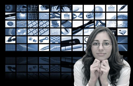 Beautiful woman and tech background in blue tones Stock fotó