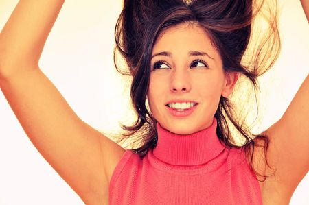 Beautiful playful model with her hair up Stock Photo - 7889956