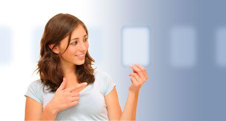 Beautiful woman choosing the right option Stock Photo - 8101803